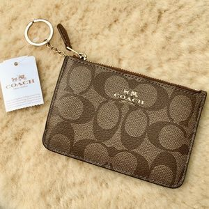 Coach Signature Key Pouch with Gusset in Khaki